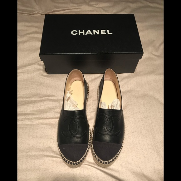 6e00257c81d Chanel Black Leather espadrilles Sz 36